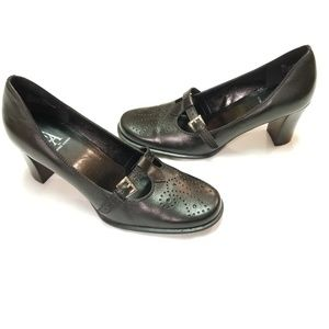 Etienne Aigner Black Leather Mary Jane Heels